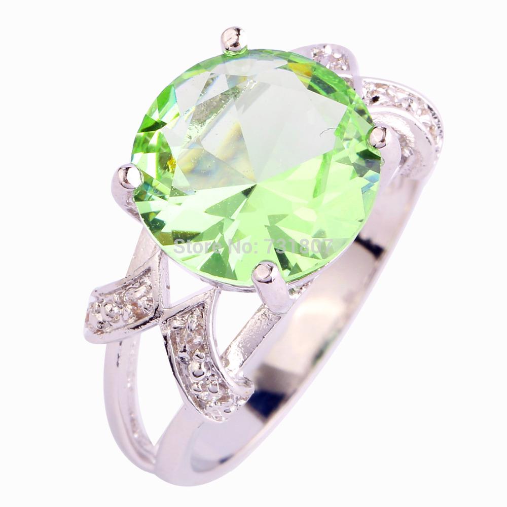 2015 Fashion Style Twinkling Round Cut Green Amethyst 925 Silver Ring Size 6 7 8 9 10 11 12 13 Jewelry  Unisex Free Shipping(China (Mainland))