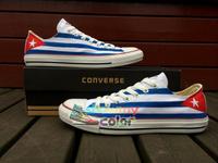 Cuba Flag Converse Shoes Custom Hand Painted Low Top Canvas Shoes Converse for Men Women