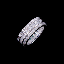 Brand Designer 9mm Width Wedding Rings White Gold with Pink/Clear Princess Cut CZ AAA Zircon Rings For Women Jewels Accessories