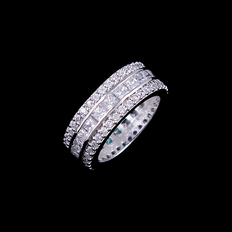 Hot Sell 9mm Width Wedding Rings White Gold Sparkling Princess Cut Cz Fashion Rings For Women Aneis Simulated Diamond Jewelry(China (Mainland))