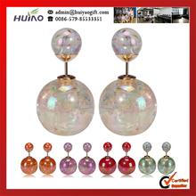 New Fashion Paragraph Hot Selling Earrings 2014 Double Side Shining Pearl 15mm Stud Earrings Big Pearl