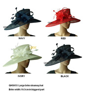 LARGE BRIM dress Sinamay Hats Church hats,Ideal for races,Melbourne cup,wedding kentucky derby.black,ivory,and navy blue color.