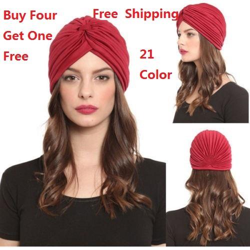 Free Shipping 2014 Turban Hat Cap Hijab Hairband Bandana Wrap Hair Loss Chemo Fancy Indian Plain,More Color Can Choose(China (Mainland))