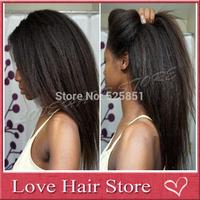 Heavy Density!Brazilian Human Hair Italian Yaki Silk Top Lace Wig 150Density Kinky Straight Glueless Silk Top Lace Front Wigs
