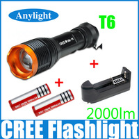 CREE xml-T6 2000 Lumens High Power Torch Zoomable LED Flashlight+2* 18650 battery +1* EU/US Universal Charger WLF43