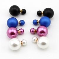2014 Fashion Brand Women's Double Candy Pearl  Piercing  Stud Statement  Earrings  Luxury Jewelry