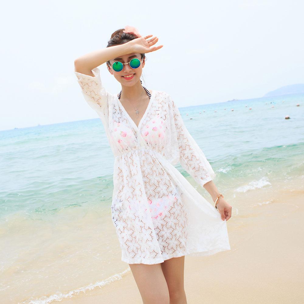Freeshipping 2014 new summer beach swimwear lace bikini cover up pareo tunic dress white color(China (Mainland))