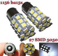 10PCS/Lot  1156  BA15S P21W 27 SMD 5050 led Brake Tail Trun signal led bulb 12V  White Red Blue Yellow