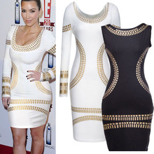 2014 New Popular Knee-Length O-Neck White Golden Patchwork Foil Bodycon Party Club Celebrity Straight Silm Full Elegant Dresses!(China (Mainland))