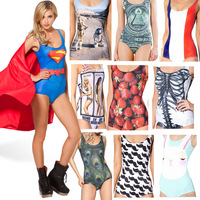 2014 Sexy Summer Swimsuit  Superman / Flag/ Strawberry  Digital Printed Womens Bodysuit Cheap Price  Free shipng