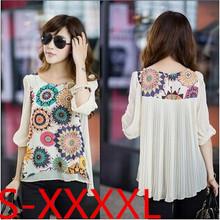 Nova 2014 tamanho Hot Summer Fashion solto Plus Impressão das mulheres de manga curta Chiffon Blusas Flor Mulheres Roupa Top shirt(China (Mainland))