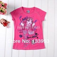 Monster High Tops Kids School Totally Voltage Summer T Shirt Children's Short Sleeve pink blue Clothes Free Shipping DA103