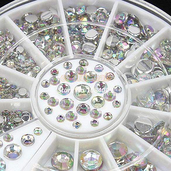 New Nail Art Decoration Rhinestone Crystal Glitter With Wheel White, Nail Rhinestones, Nail Beads DIY Wholesale 19818#006(China (Mainland))