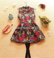2014 New  Women spring summer Dress Fashion sleeveless Casual dress