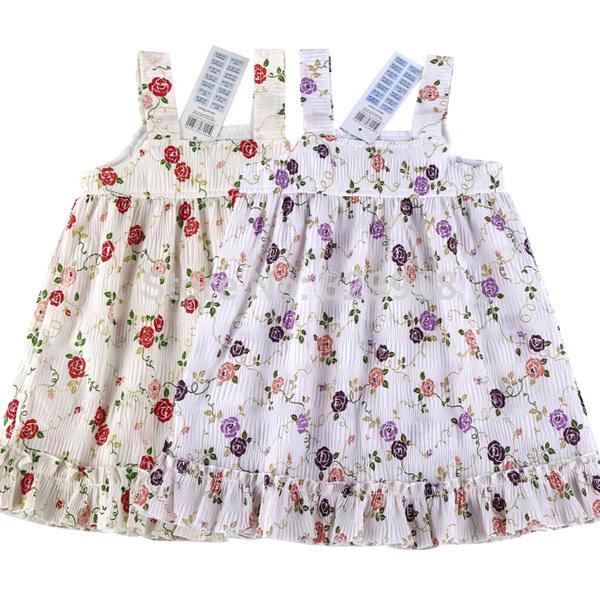 2015 New Children Dress Girls 100% Cotton Floral Print Sleeveless Kids Casual Dress 2-8yrs Brand Designer Baby & Kids Dress(China (Mainland))