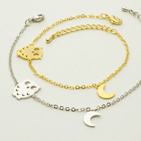 stainless steel Gold Chain Link Night vintage Owl Charm bracelet for women Unique