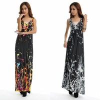 women's sexy V Neck Hawaiian print dress 2014 summer long maxi dresses high waist print Bohemia beach dress