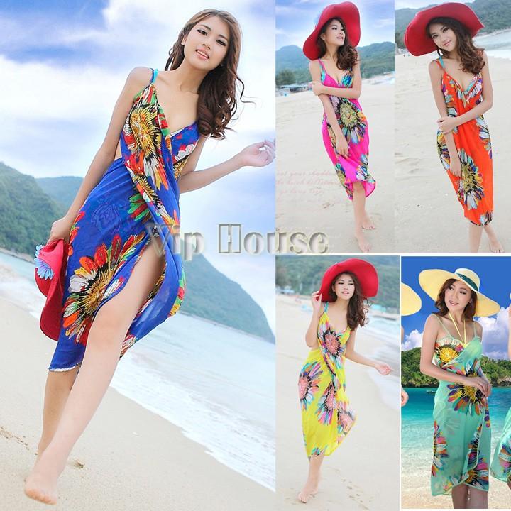 2014 New Arrival Deep V Wrap Chiffon Swimwear Bikini Cover Up Sarong Beach Dress For Women Bohemian Dress Plus Size SV001144#006(China (Mainland))