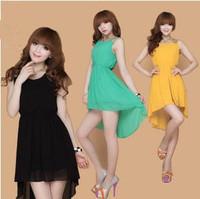2015 Summer women Asymmetrical Chiffon dresses, plus size S-XXXL sexy party dress,candy color girl dress