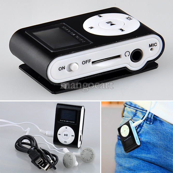 Hot Sale Metal Clip Digital MP3 Player FM Radio LCD Screen For 2/4/8/16GB TF Card Black 19815 b003(China (Mainland))