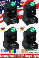 4pcs/lot 10W 4IN1 RGBW Led Beam Moving Head Light 90V-240V DMX512 11/13DMX Channels Mini Size Beam Moving Head Light DJ Light