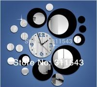 Big Black and silver clock,fashion wall clock Home decor diy crystal mirror wall clock antique kids room decal watches JC18