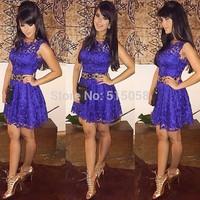2015 Vestidos Casamento Renda Fashion Women Casual Lace Dress Sexy Mini Party Dress vestido de festa curto