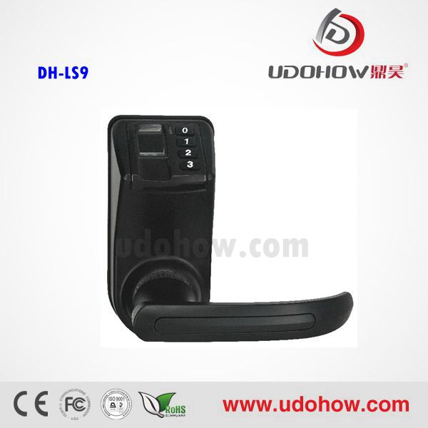 UDOHOW home door handles locks cheap prices and fingerprint lock safe LS9 Black(China (Mainland))