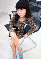 New 2014 Baby Girl Leopard Print Summer Winter Autumn Dress Girls Long Sleeve Casual Party Dress