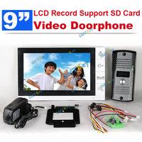 DP-998R 9 inch TFT Monitor LCD Color Video Record Door Phone DoorBell Intercom System with IR camera