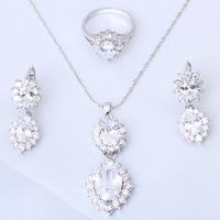 Luxury Fashion jewelry Silver filled White crystal AAA zircon Jewelry Sets Earrings Necklace rings sz #6.75 #7.5  #7.75  JS406