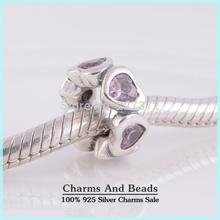 Crystal Love Hearts 925 Sterling Silver Big Hole Slide Spacer Charm Beads Fits Pandora Style Bracelets