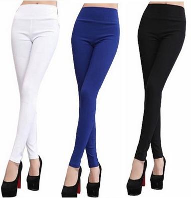 Extra large plus size clothing trousers pencil pants elastic high waist spring/autumn sky blue khaki nine pants leggings F293(China (Mainland))