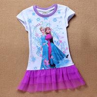HOT 2014 New Girls' Frozen Dress For 2-8yrs Girl's Princess Tutu dress Kids summer dress girl's lovable dress Free shipping