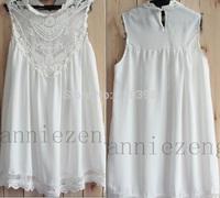 2014 Hot Salecasual Embroidered chiffon dress,blusas de renda sleeveless dress,sexy short mini dresses women 754