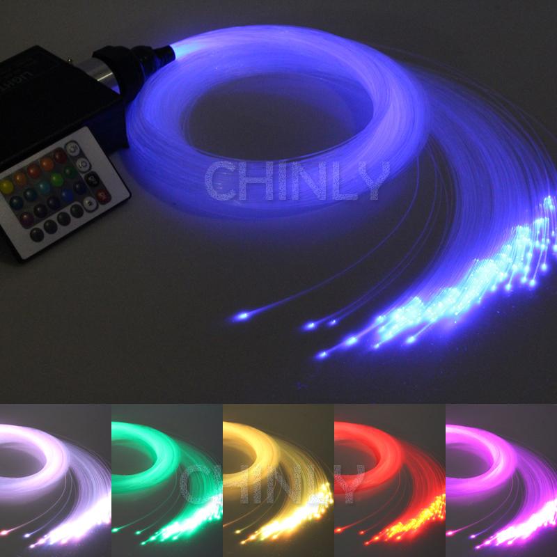 RGB colorful LED plastic Fiber Optic Star Ceiling Kit Light 150pcs 0.75mm 2M+16W RGB optical fiber Lights Engine+24key Remote(China (Mainland))