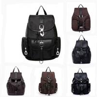 2014 hot sale women backpack leather casual school bags vintage travel hiking bags waterproof black free shipping