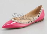 Flat rivet pointed toe single shoes women's shoes