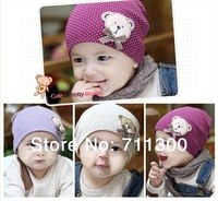 Fashion baby Boys Girls Beanie Hat lovely cartoon bear cap for kids infant cotton hats infant accessories Free Shipping