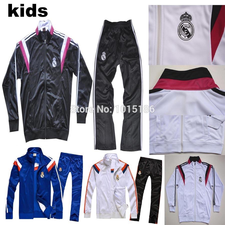 KIDS Tracksuit 2015 Real Madrid Soccer Tracksuits children Football Suit Sets 14 15 Real Madrid Kids long sleeve Soccer Jacket(China (Mainland))