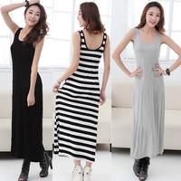 Hot!New 2014 women long summer dress Bohemia modal cotton one-piece stripe fashion tank sleeve H tank dress free shipping G300