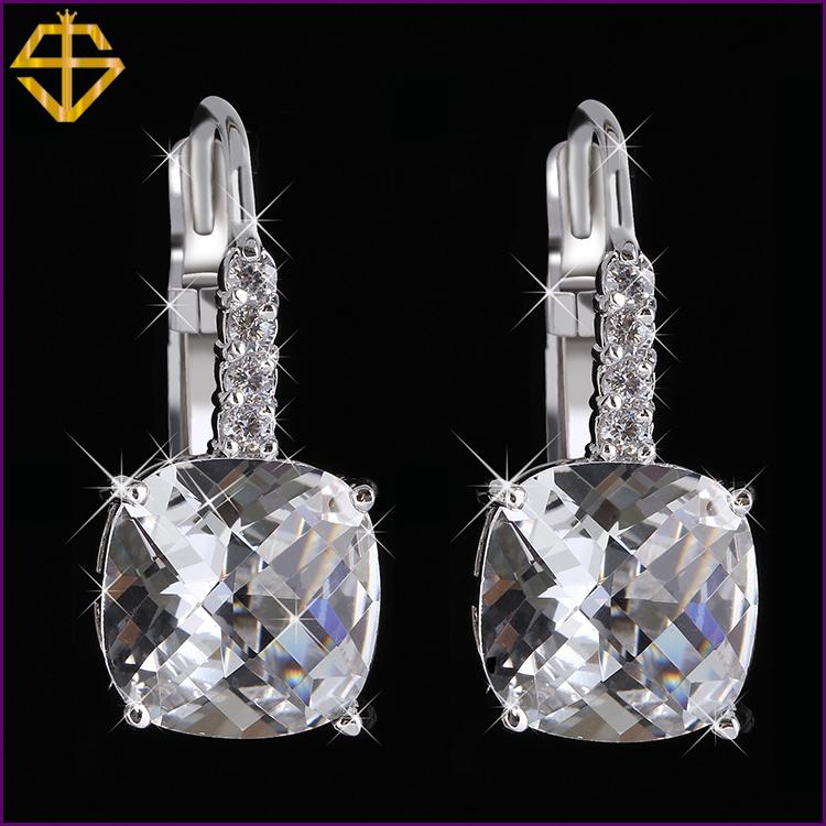 SI HOT Sale Fashion Big Classic 18K Silver Plated Dangle Earrings For Women Brand Romantic Crystal Drop Earrings Fashion Jewelry(China (Mainland))