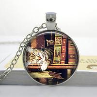 Wholesale Glass Dome Necklace,Vintage books and cat pendant necklace , Book lover pendant , Books jewelry,photo necklace.