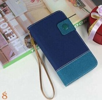 Retail Hot sell Double Color Case Magnetic Hang Rope for Samsung Galaxy Grand Duos i9082 9082  Flip Wallet bag Free Film  XHW02