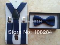 hot selling dark blue / navy blue suspenders and bow ties navy blue polka dots 1-5years