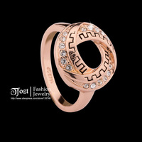 TFOZT ! 18K Rose Gold Plated Spiral Cyclotron Rings Cubic Wedding Rings Classic CZ Zircon Rings for women HXJZ 10006
