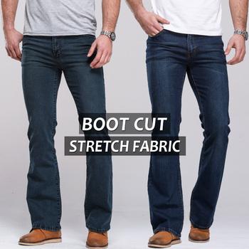 2014 male boot cut semi-flaКрасный bell Низ Джинса Slightly flaКрасный Темно синий ...