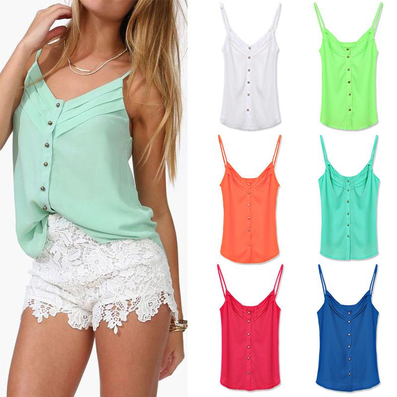 FanShou Free Shipping 2014 Spring Women Blouse Candy Color Lady Shirts Sexy Chiffon Blouse Spagetti Strap Vest Tops XXXL(China (Mainland))