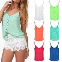 FanShou Free Shipping 2014 Spring Women Blouse Candy Color Lady Shirts Sexy Chiffon Blouse Spagetti Strap Vest Tops XXXL