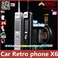 2014 Luxury retro car charging treasure stylish candybar gift long standby phone wholesale spare x6 car 3 card Cortex phone